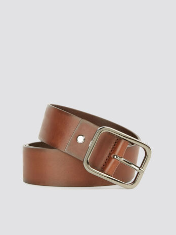 Solid colour leather Turati Jeans belt