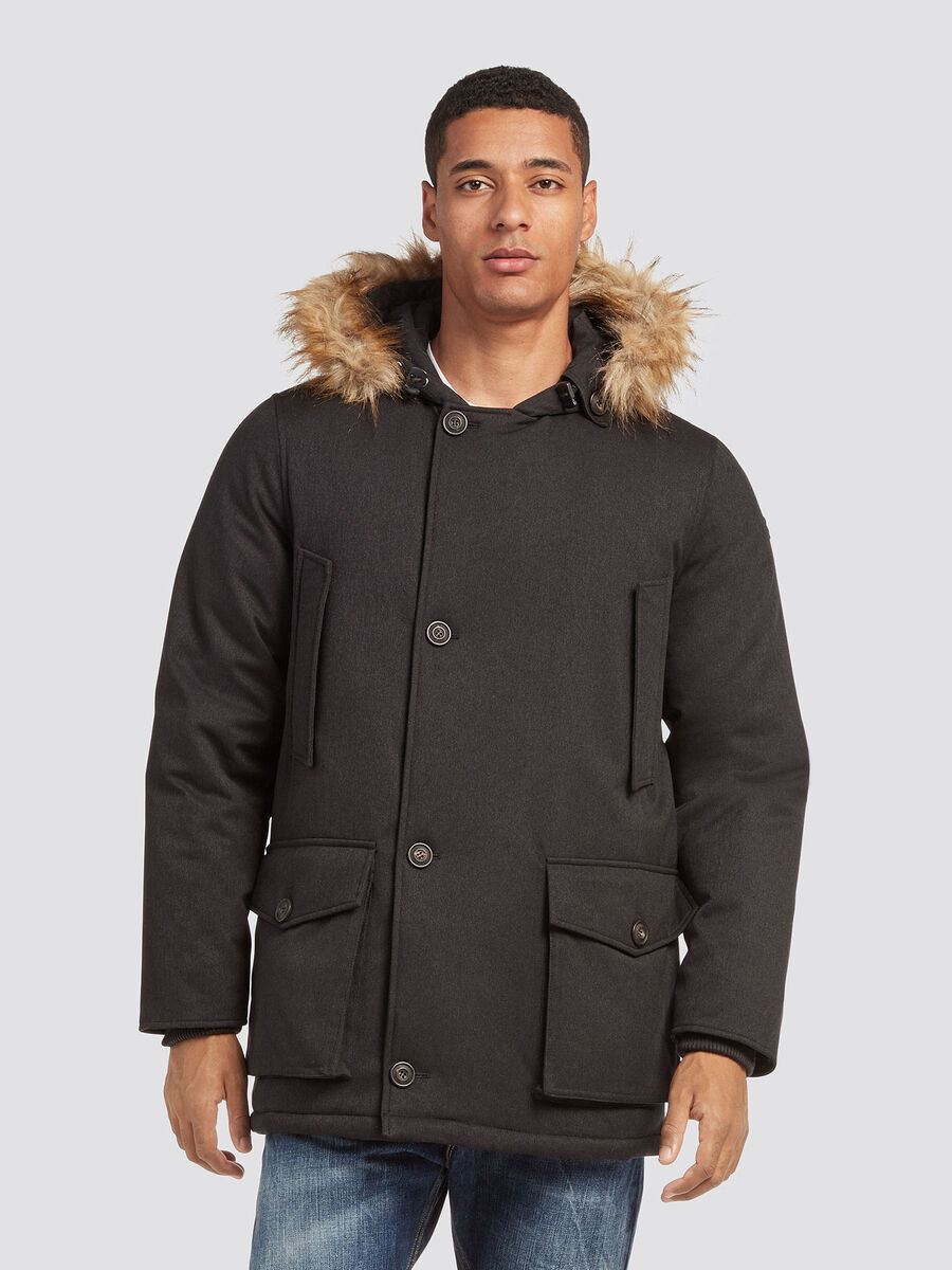 Parka coupe over en nylon avec duvet