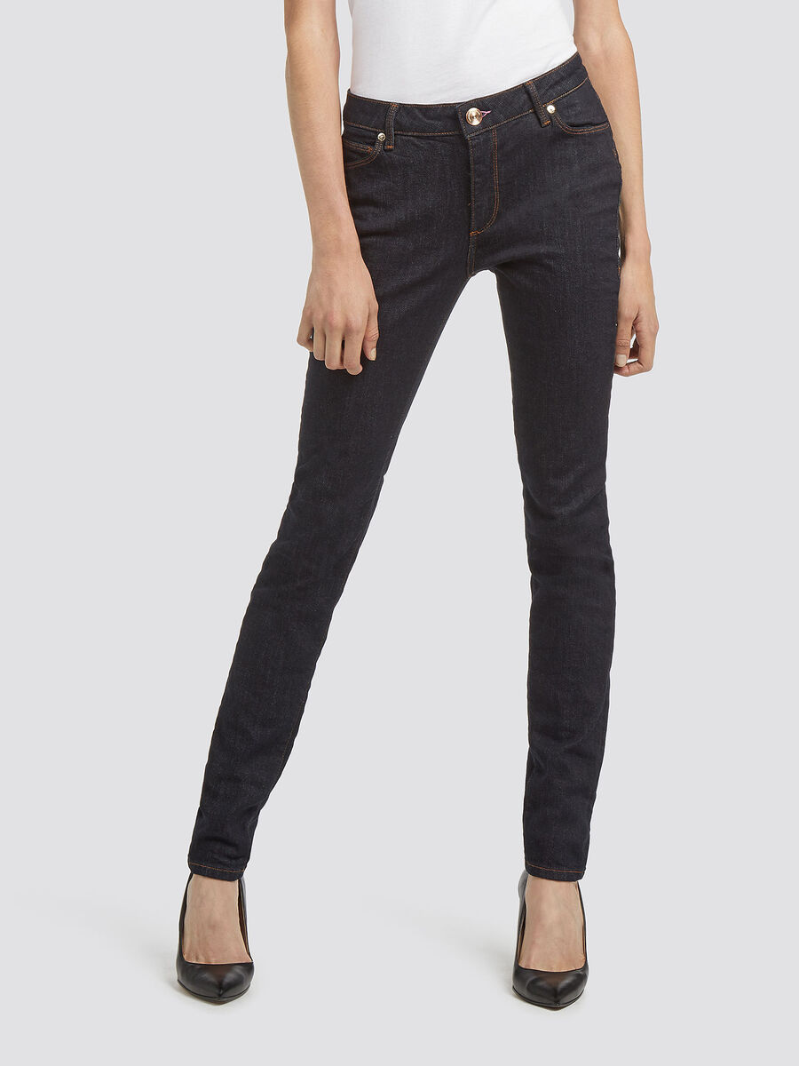 Skinny rinse wash jeans with stitching details
