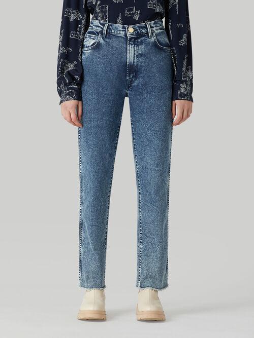 Marbled denim Tube jeans