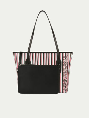Leather shopping bag with multi coloured stripe print