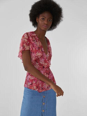 Blusa in georgette con micro stampa a fiori