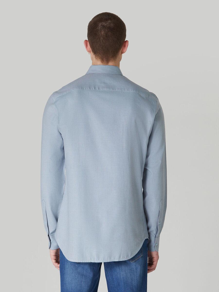Camicia regular fit in cotone con micro texture