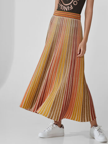 Long pleated cotton skirt