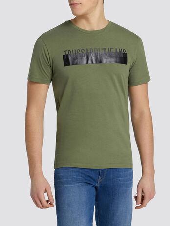 T shirt coupe classique en jersey a bande contrastante