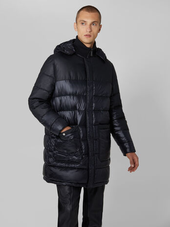 Hooded midi down jacket in quilted light nylon