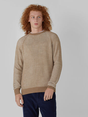 Pullover regular fit in mista lana bicolor