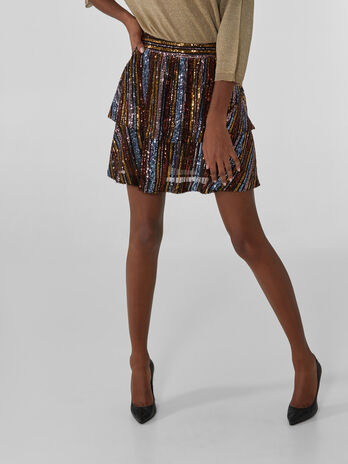 Rainbow sequin miniskirt