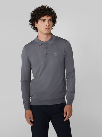 Pullover slim fit con colletto polo