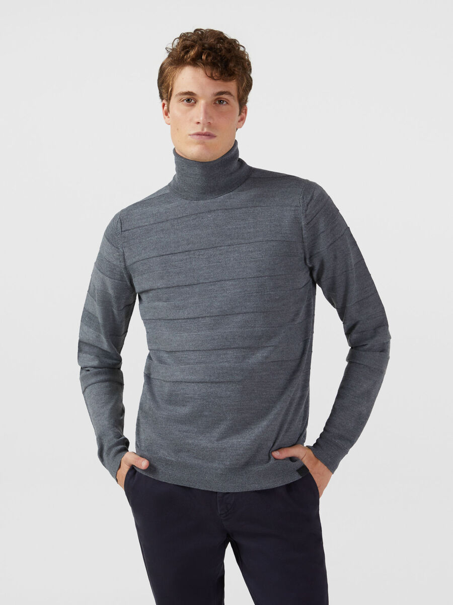 Regular fit wool blend high neck pullover