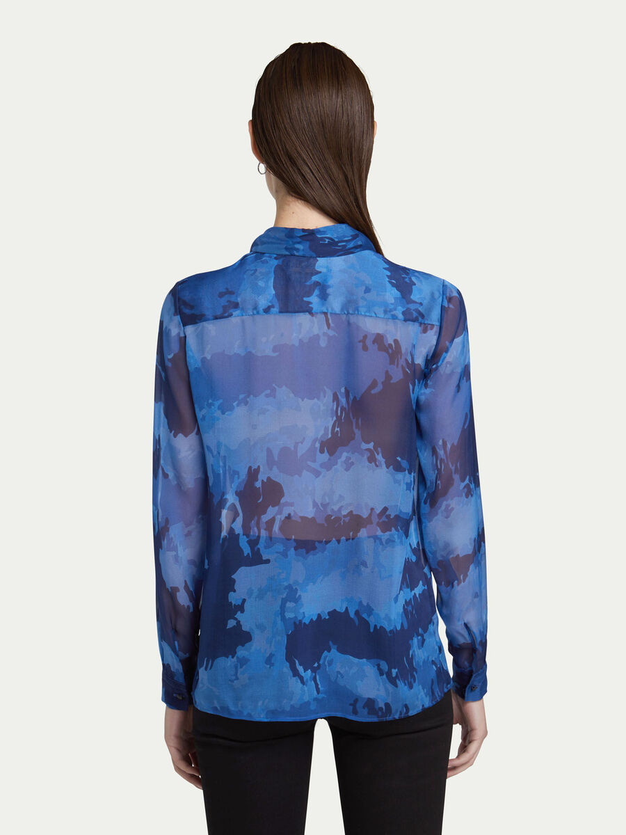 Regular Fit Bluse aus Chiffon mit Camouflage Print