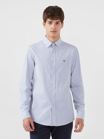 Regular fit-shirt in striped cotton poplin