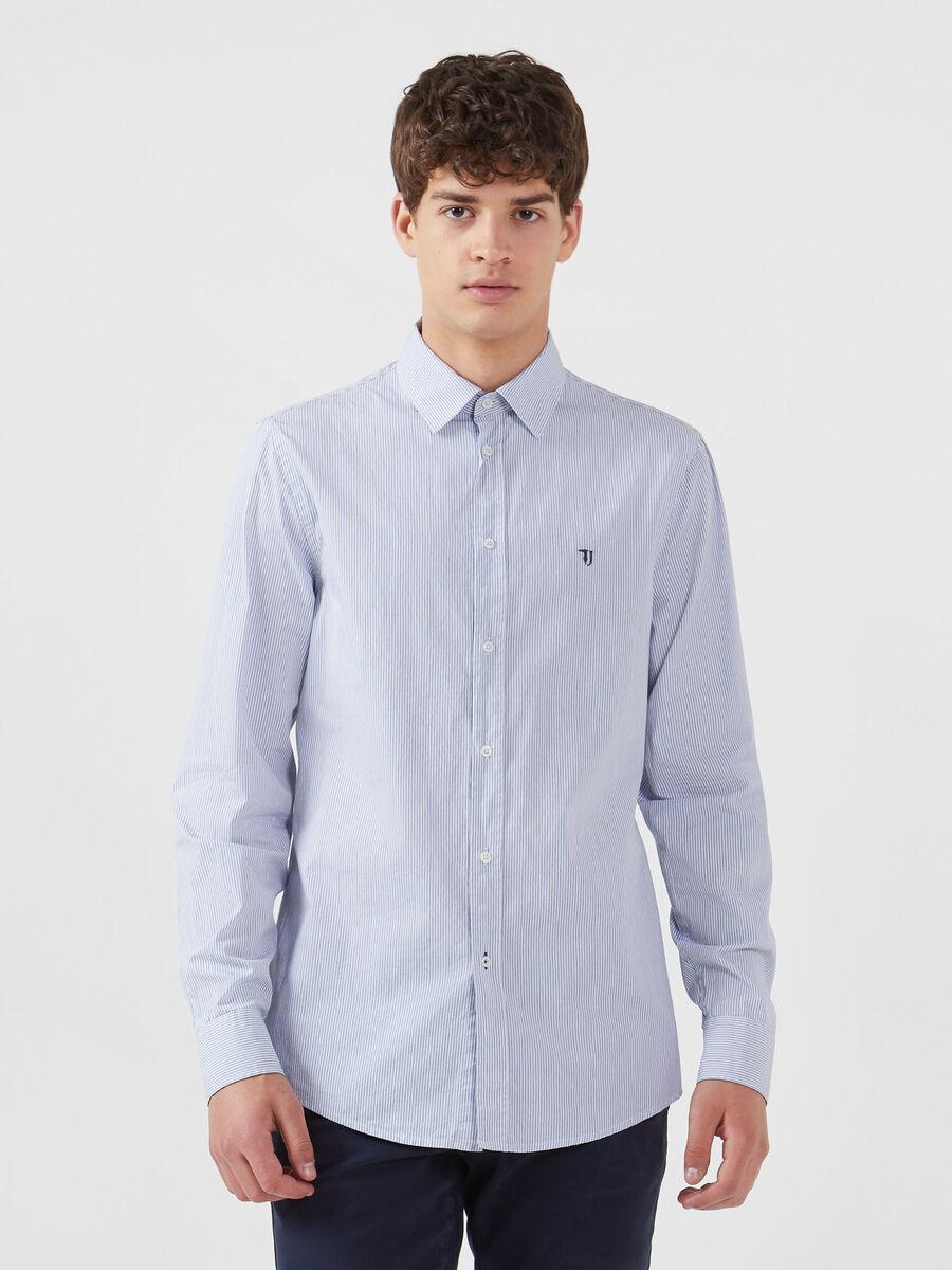 Regular fit-shirt in striped cotton poplin