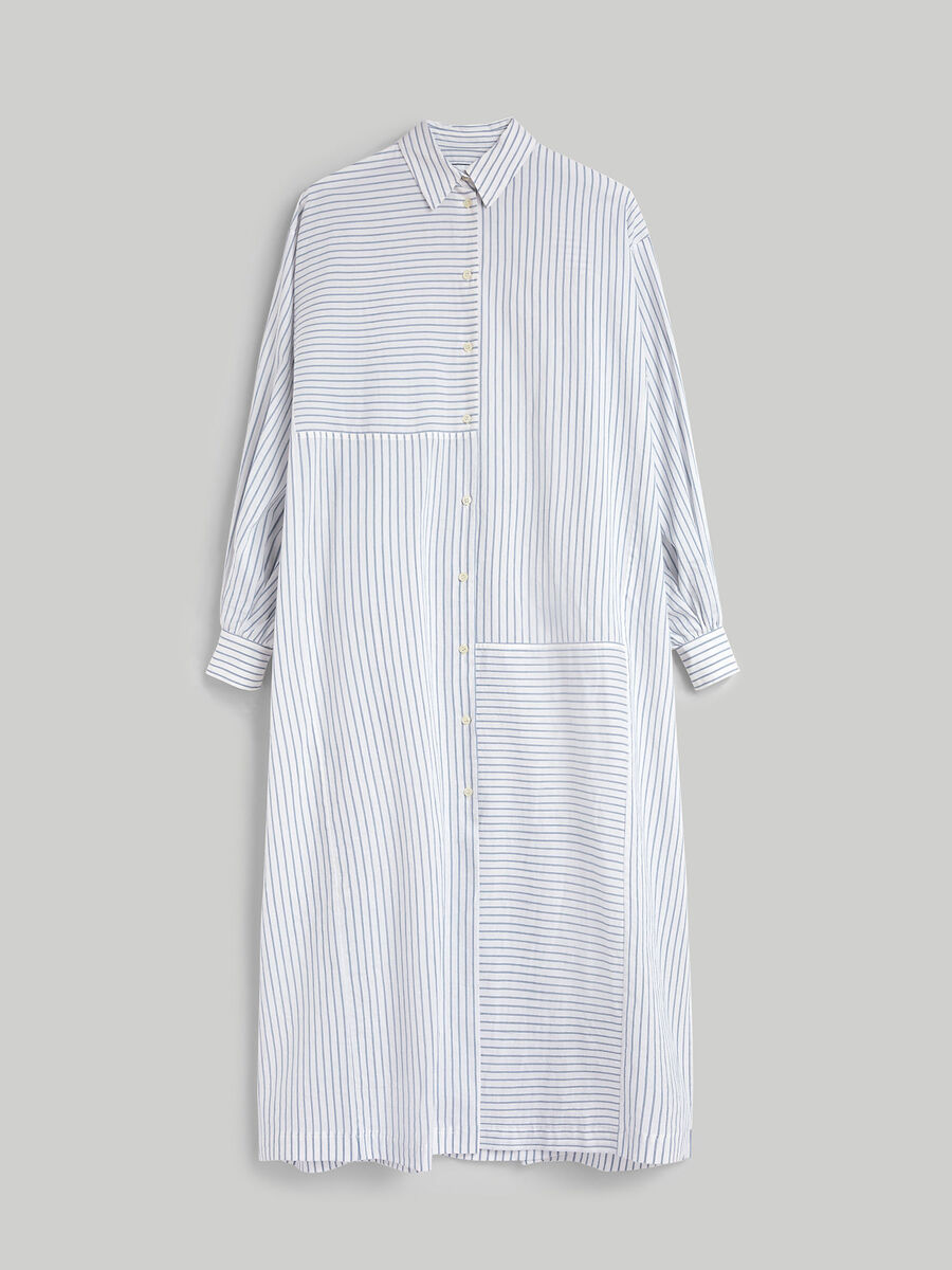 Oversized dress in striped cotton and linen