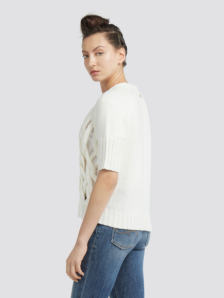 Cropped wool pullover with open knit