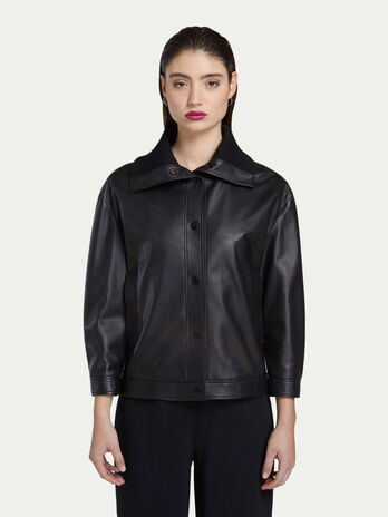 Oversized bomber jacket in delicate leather with lapels