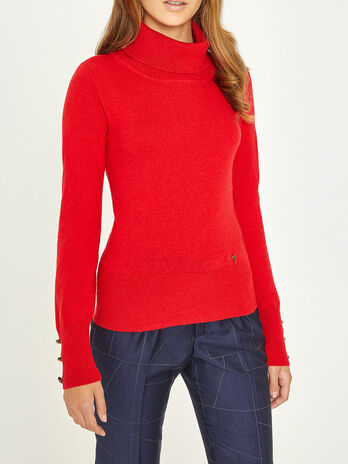 Turtleneck sweater in wool and cashmere mix