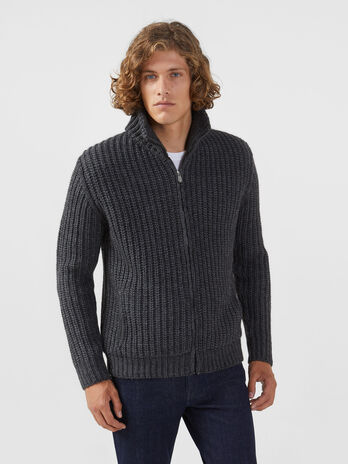 Cardigan regular fit in misto lana con zip