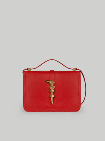 Leila medium leather shoulder bag with levriero