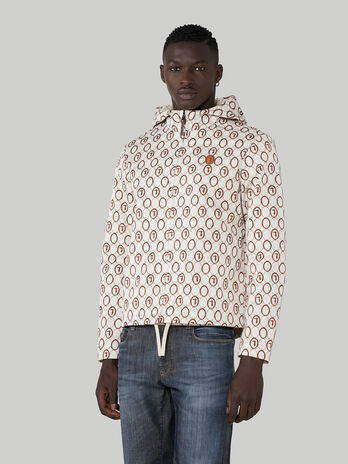 Printed technical satin jacket with hood