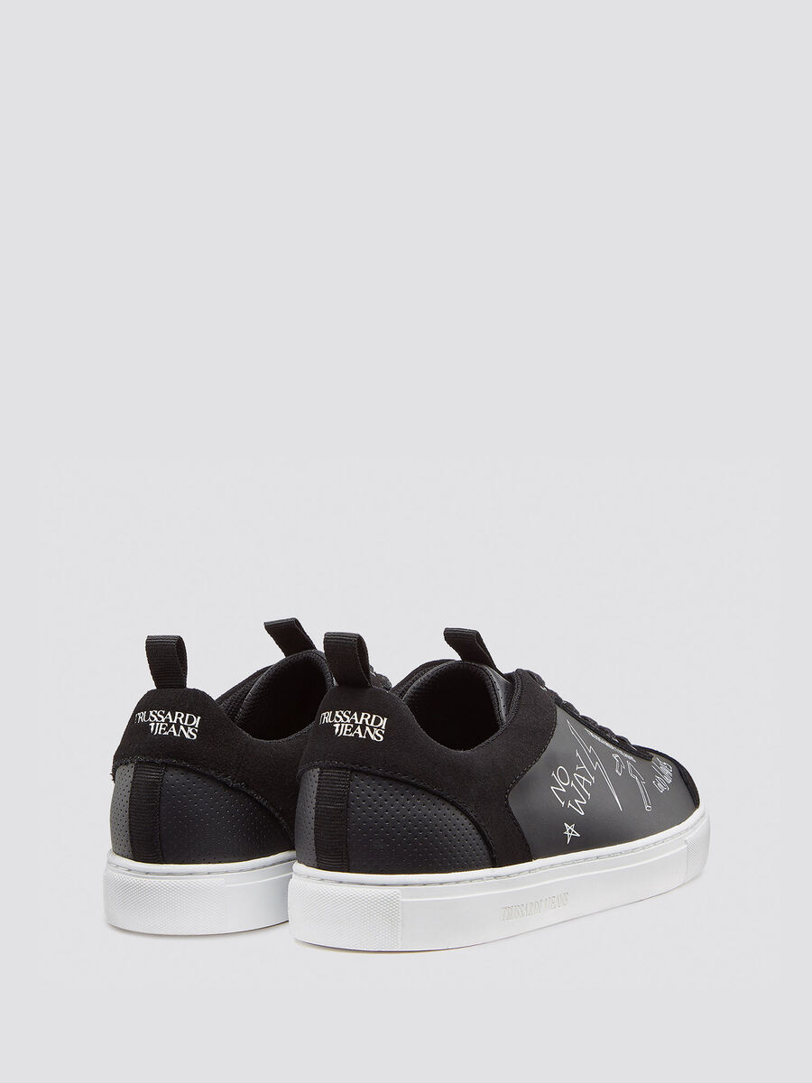 Leather sneakers with suede inserts