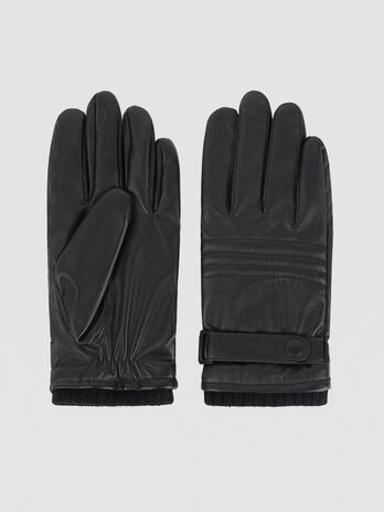 Faux leather gloves with strap
