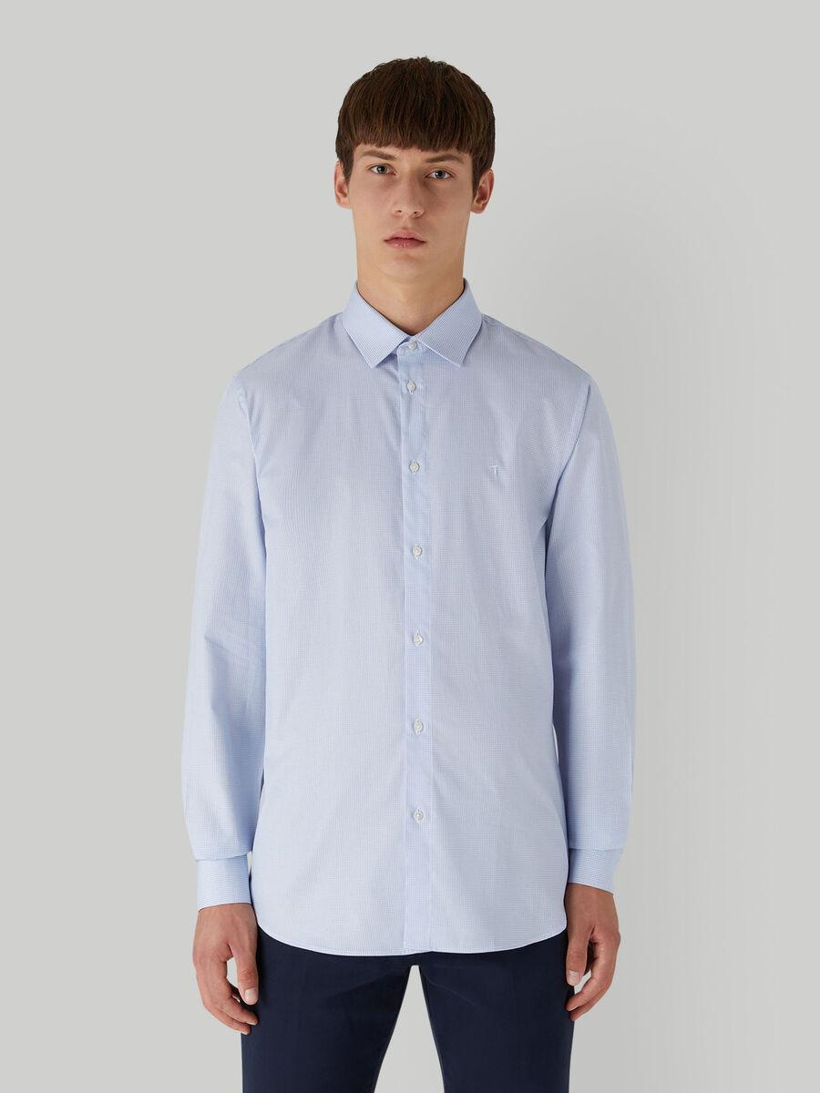 Regular-fit cotton jacquard shirt