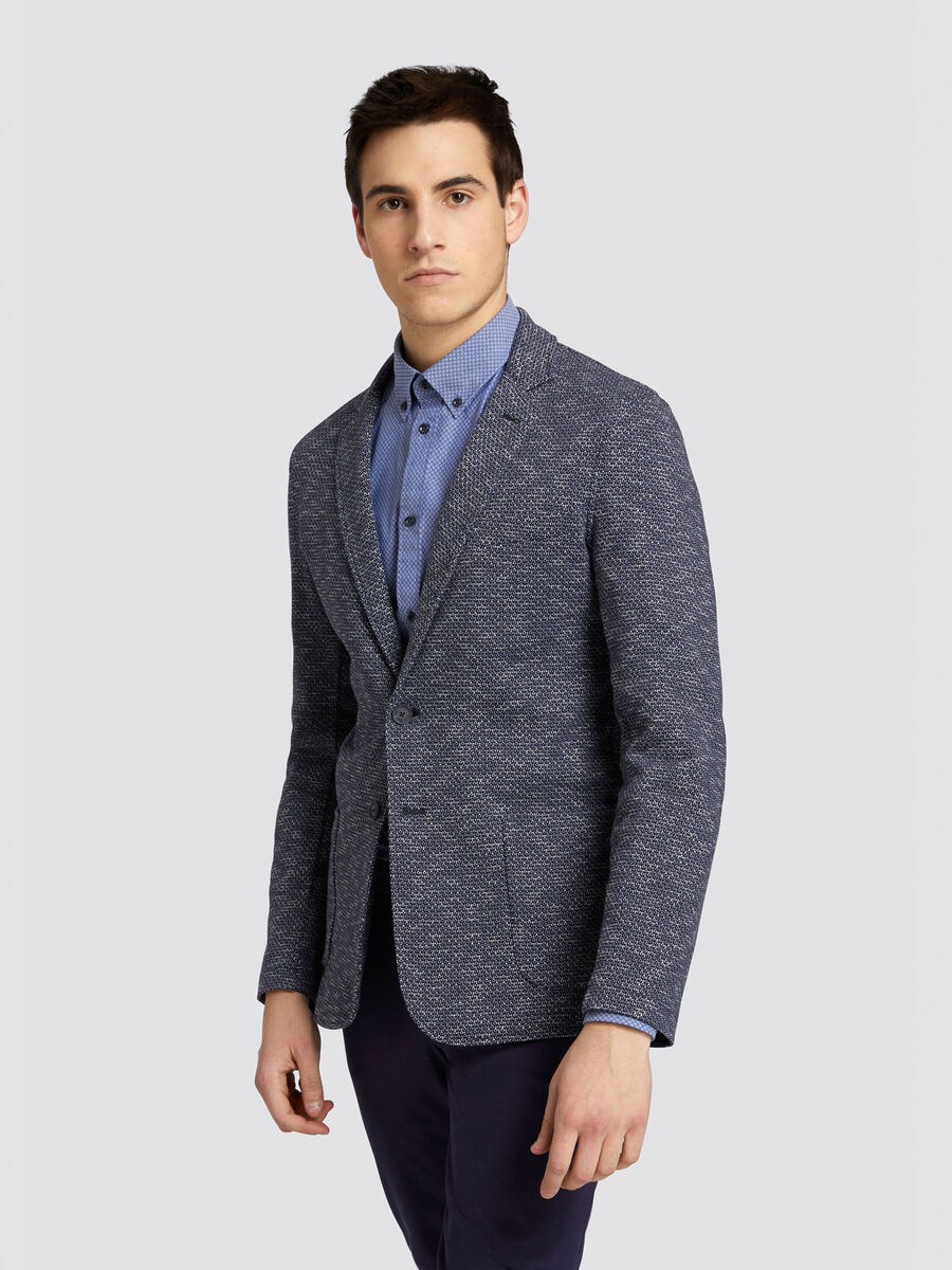 Slim fit blazer in micro patterned jersey