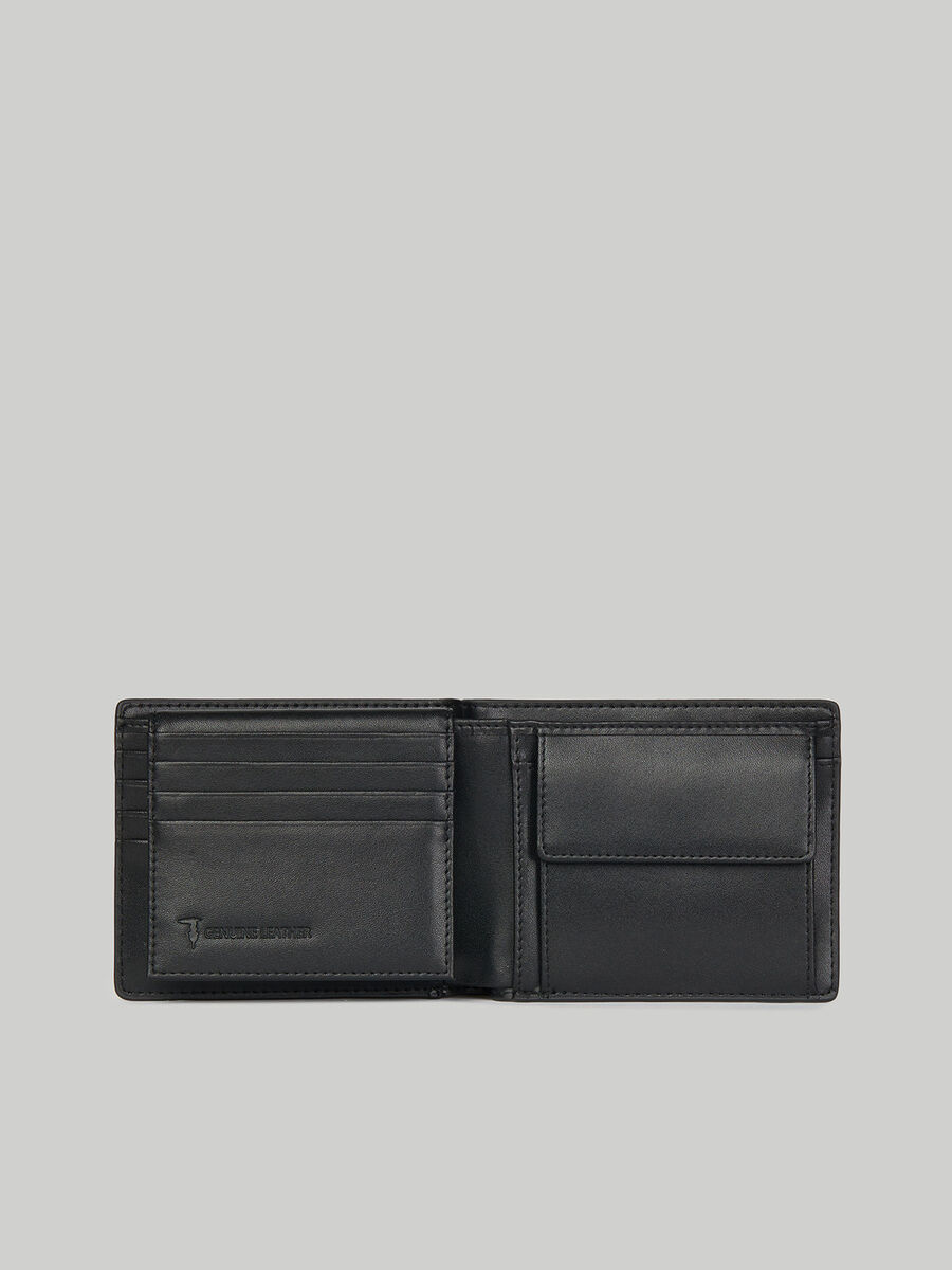 Plain nappa leather bi-fold wallet