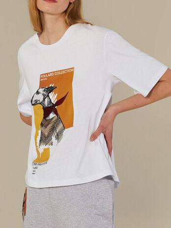 T-shirt coupe over en pur coton imprime