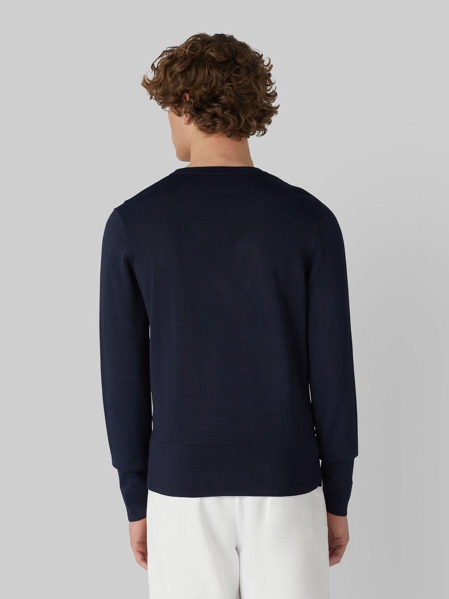 Regular-fit plaited-rib viscose pullover
