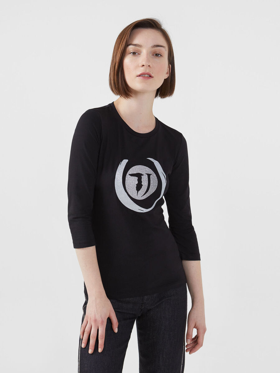 Slim fit cotton jersey T-shirt with glittery detailing