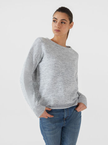 Pull coupe over en laine melangee