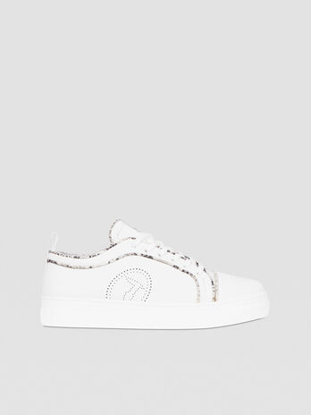 Leather sneakers with python piping