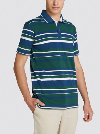 Polo regular fit in cotone a righe con logo