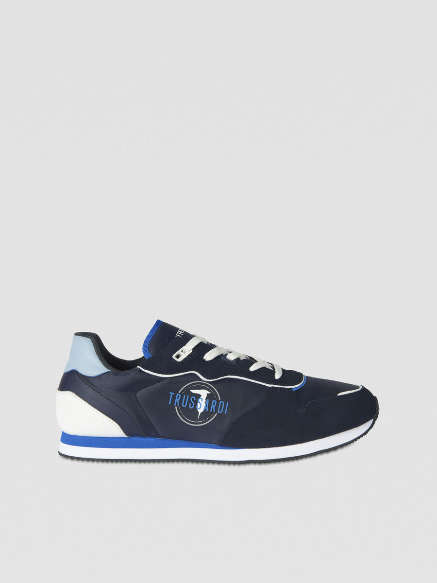 Running sneakers in suede technical mesh and PU