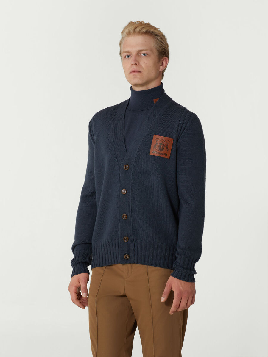 Oversized wool cardigan with branded patch