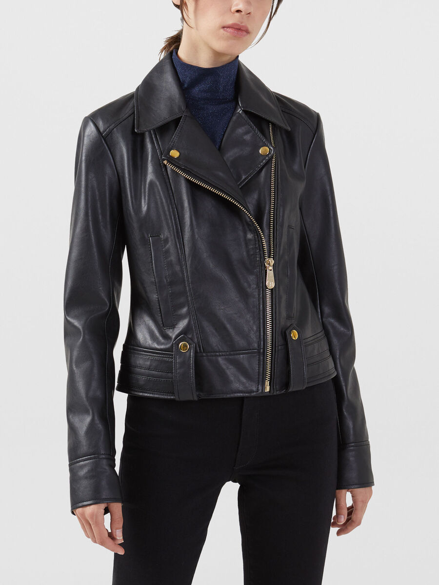 Regular fit faux leather motorcycle jacket