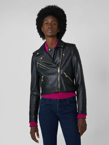 Soft faux leather motorcycle jacket