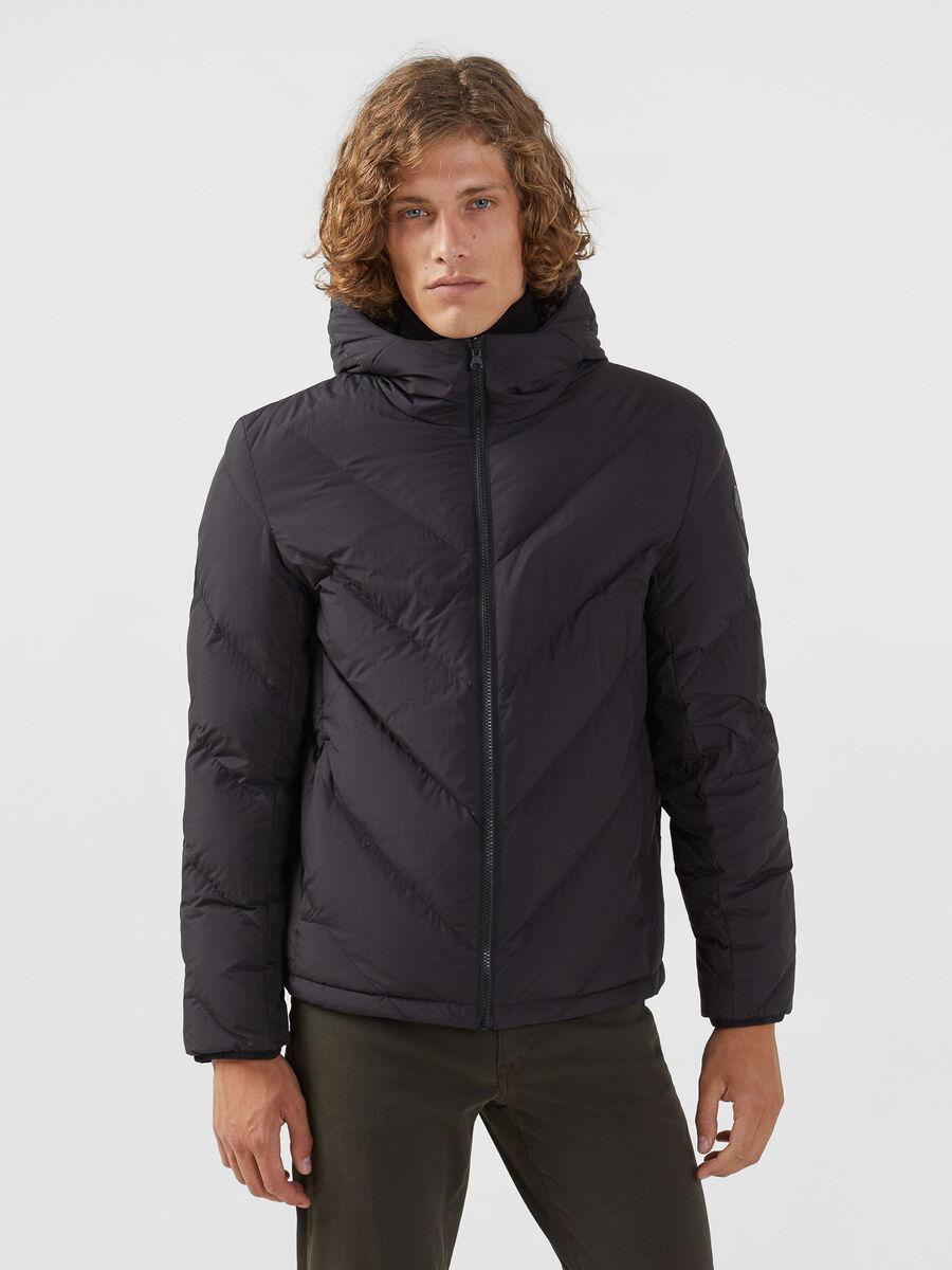 Reversible regular fit down jacket in matte nylon
