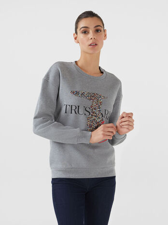 Regular fit cotton sweatshirt with beading