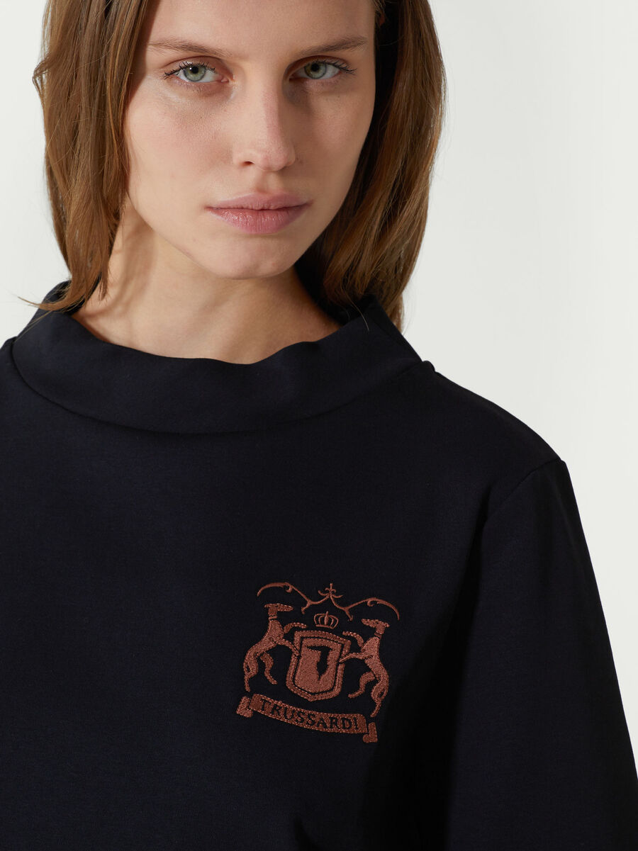Regular fit cotton T-shirt with logo embroidery