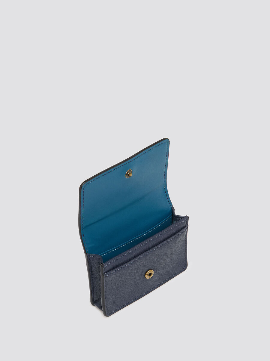 Solid colour card case with flap and logo insert