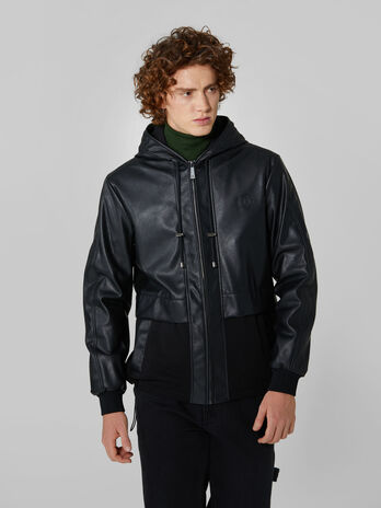 Faux leather jacket with hood