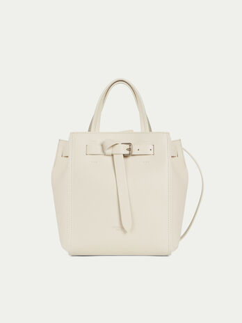 Small Gita tote bag in matte leather with tied buckle