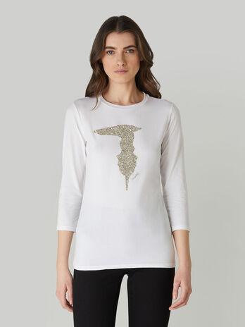 Baumwoll-T-Shirt im Slim-Fit mit Kristallsteinen