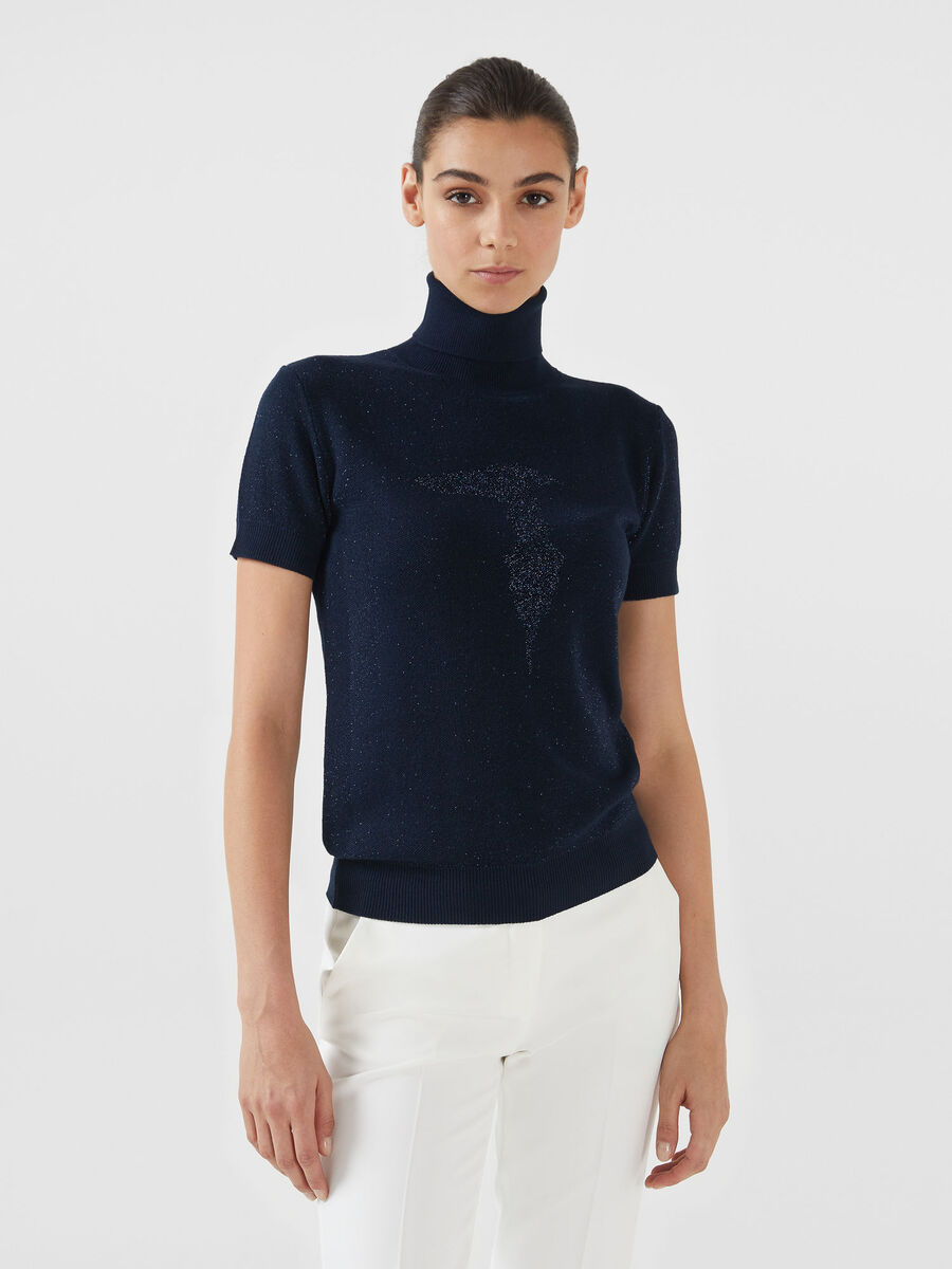 Lurex viscose polo neck pullover with logo