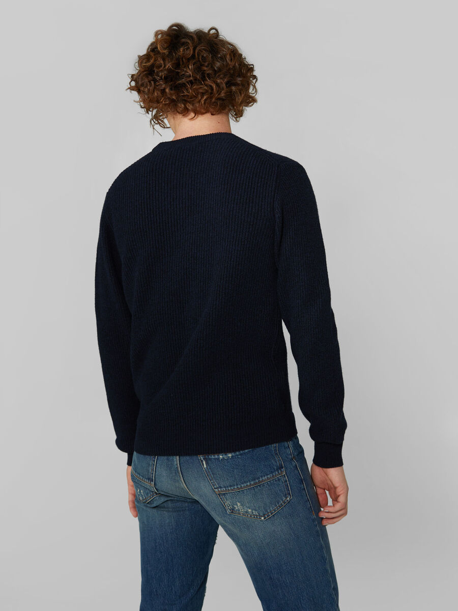 Pullover regular fit in lana e cachemire mouline