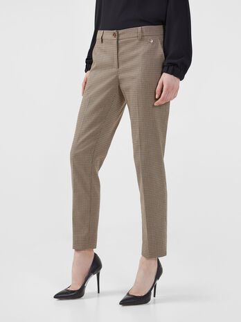 Micro chequered fabric trousers