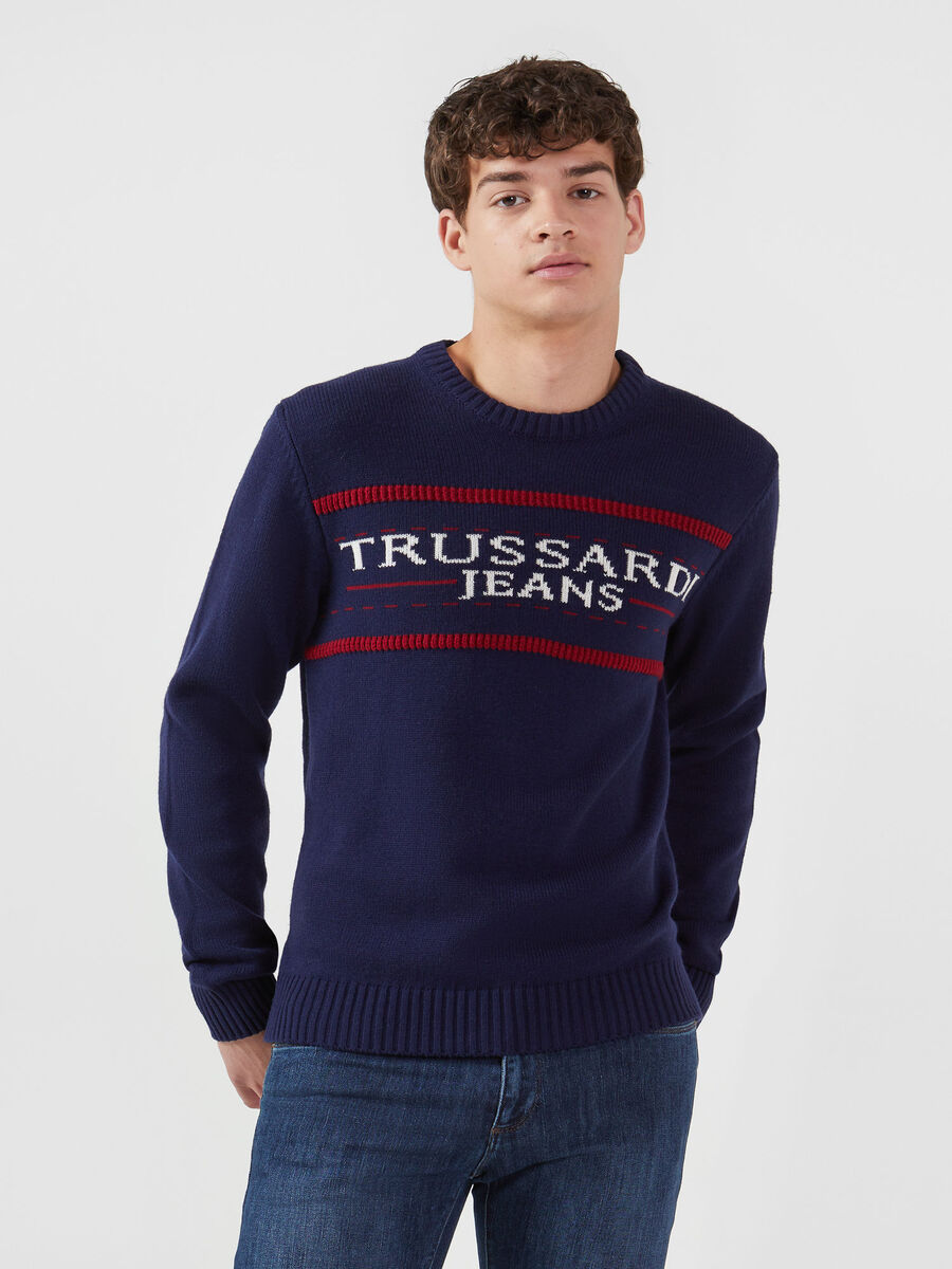 Regular fit wool blend jacquard pullover
